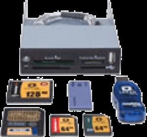 photo Lecteur de cartes mémoires 32/1 USB 2.0 + 1 port USB 2.0